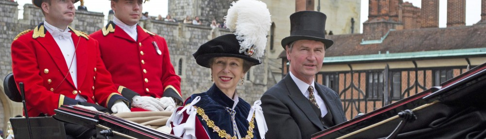 Garter Ceremony Winsor Castle 17.6.13, Horse and Carriage depart St George's Chapel, Princess Anne and her husband, Sam Burton